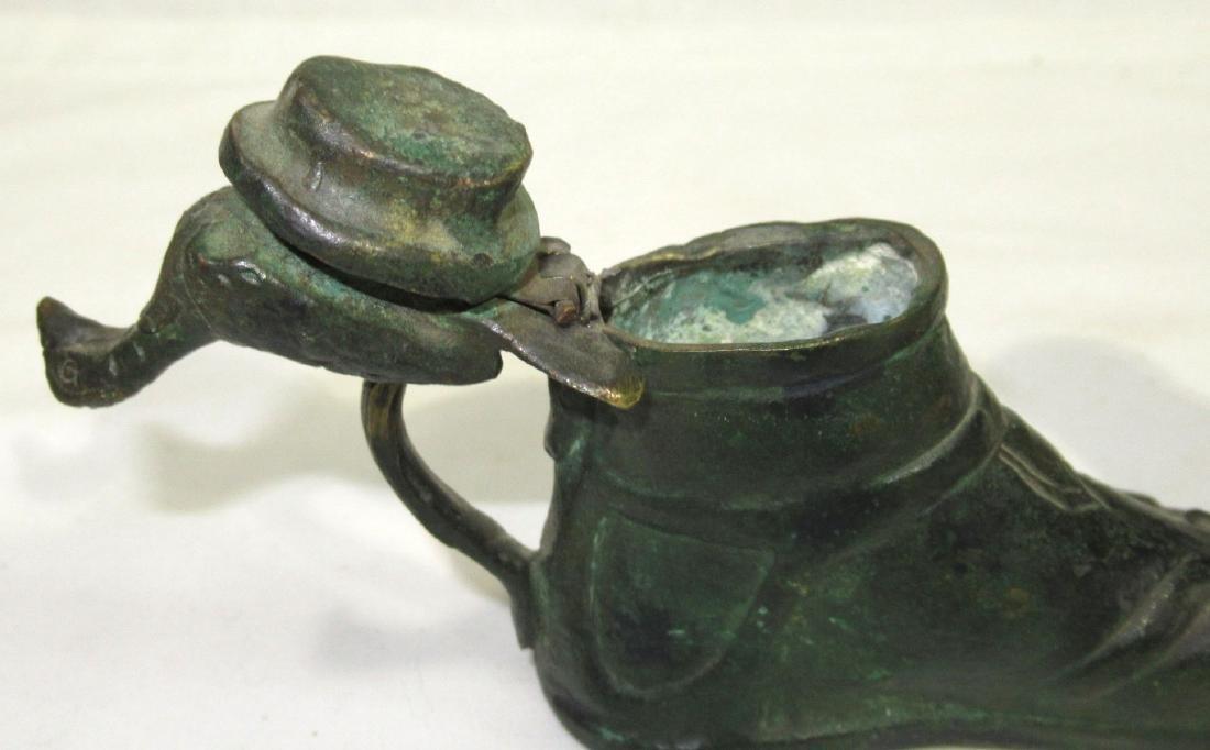 Bronze Sandal Candlestick & Match Holder - 2