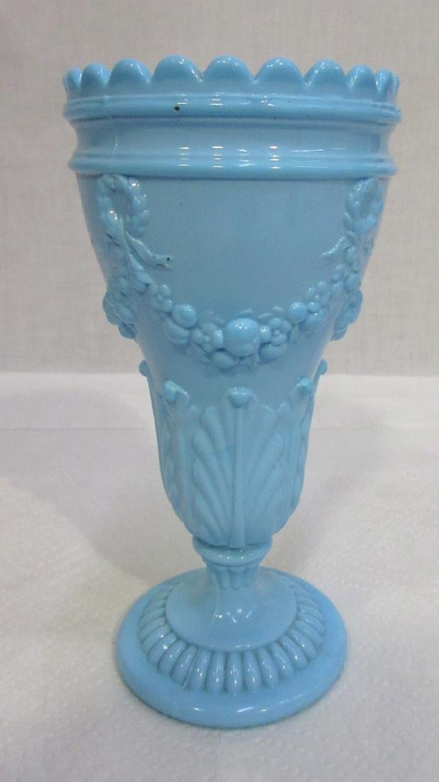Blue Milk Glass Vase - 2