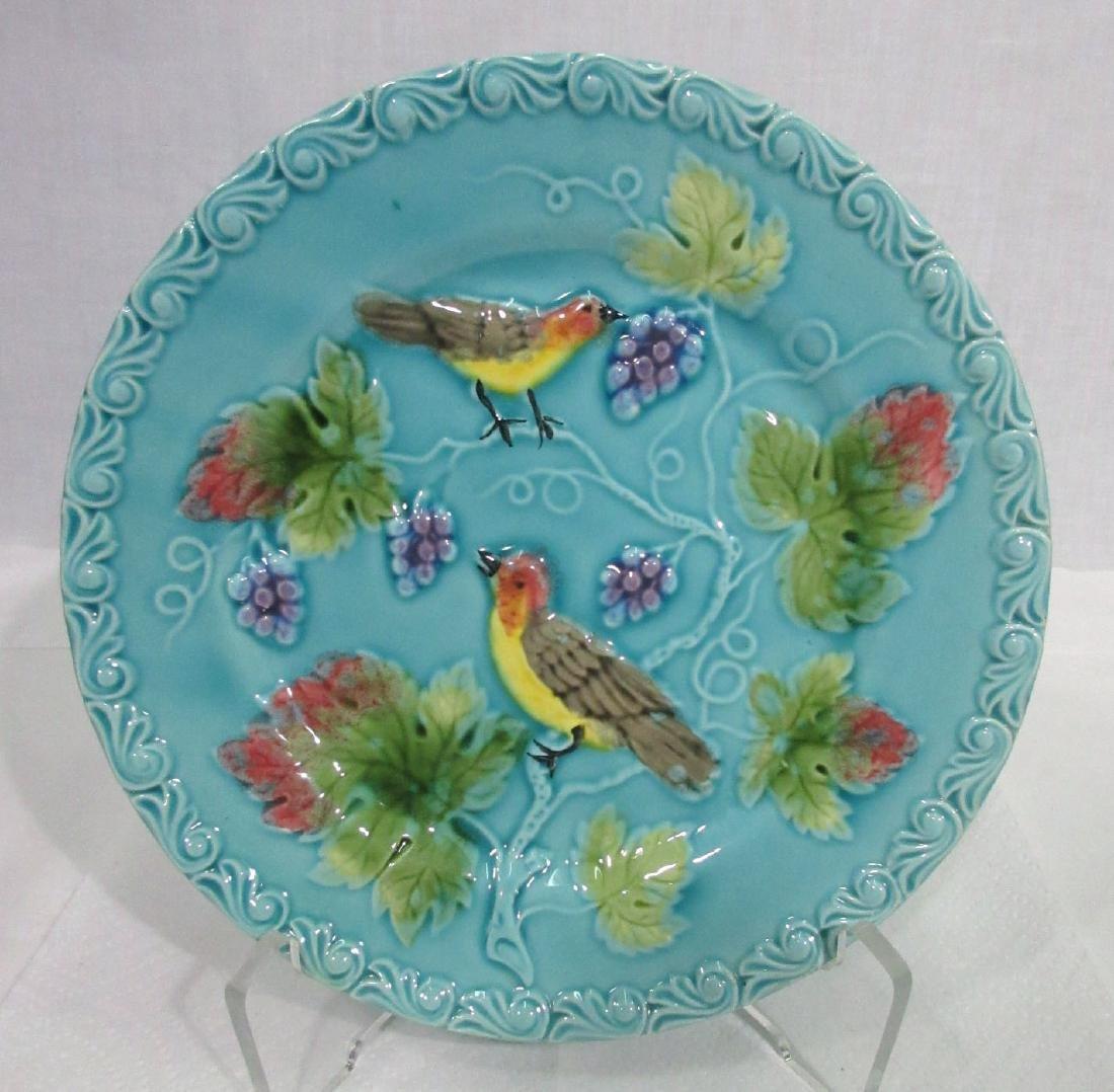 Majolica Plate w/ Birds