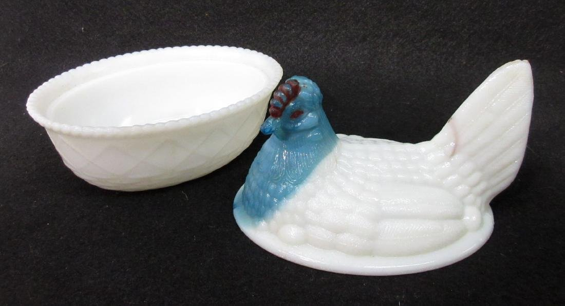 Vtg. Milk Glass Hen on Nest - 3