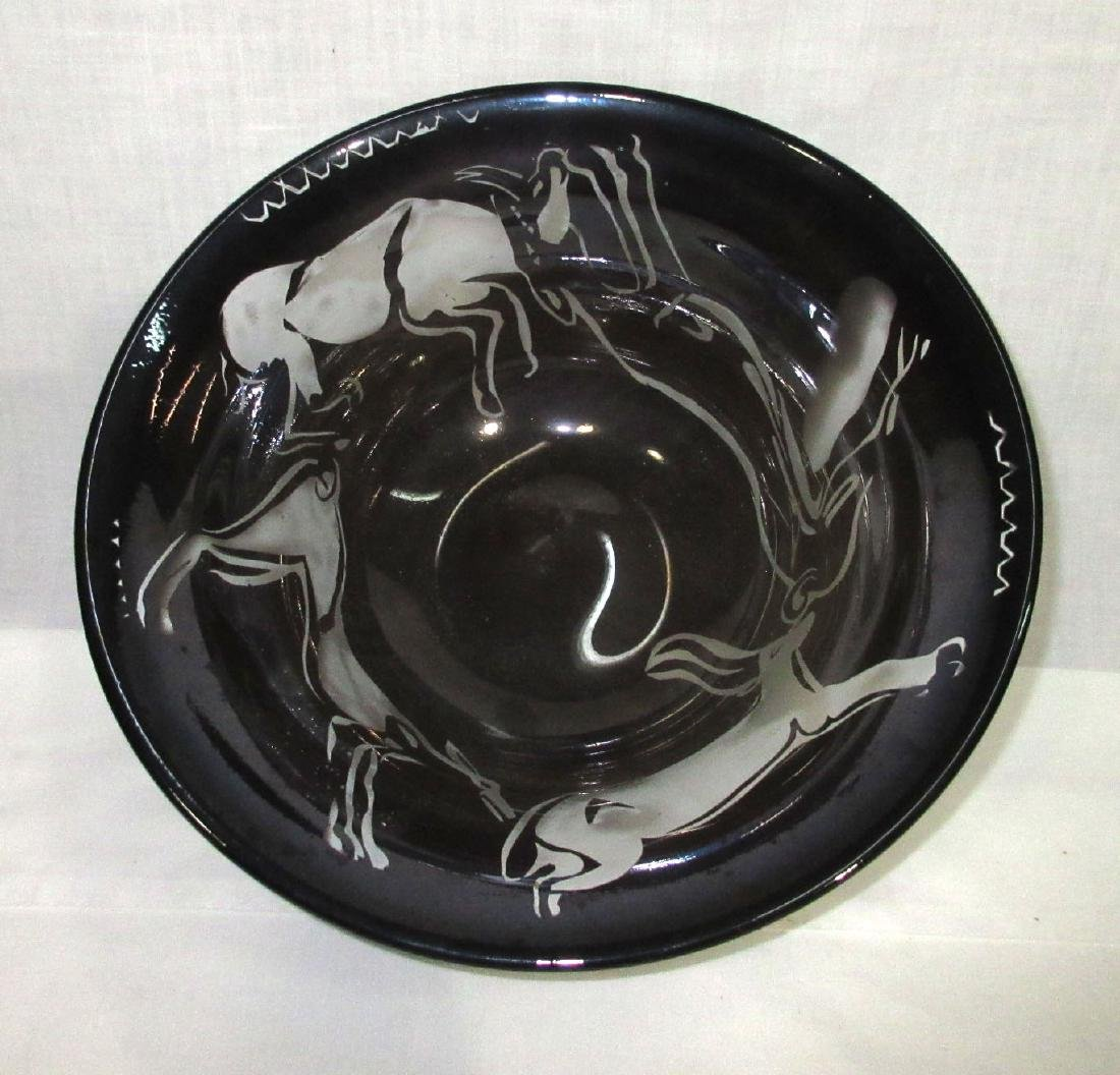 Art Glass Bowl Sgnd Conty '85 - 3