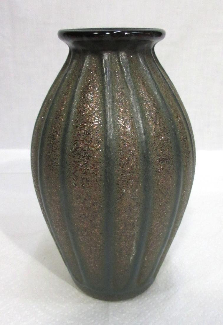 Ribbed Art Glass Vase