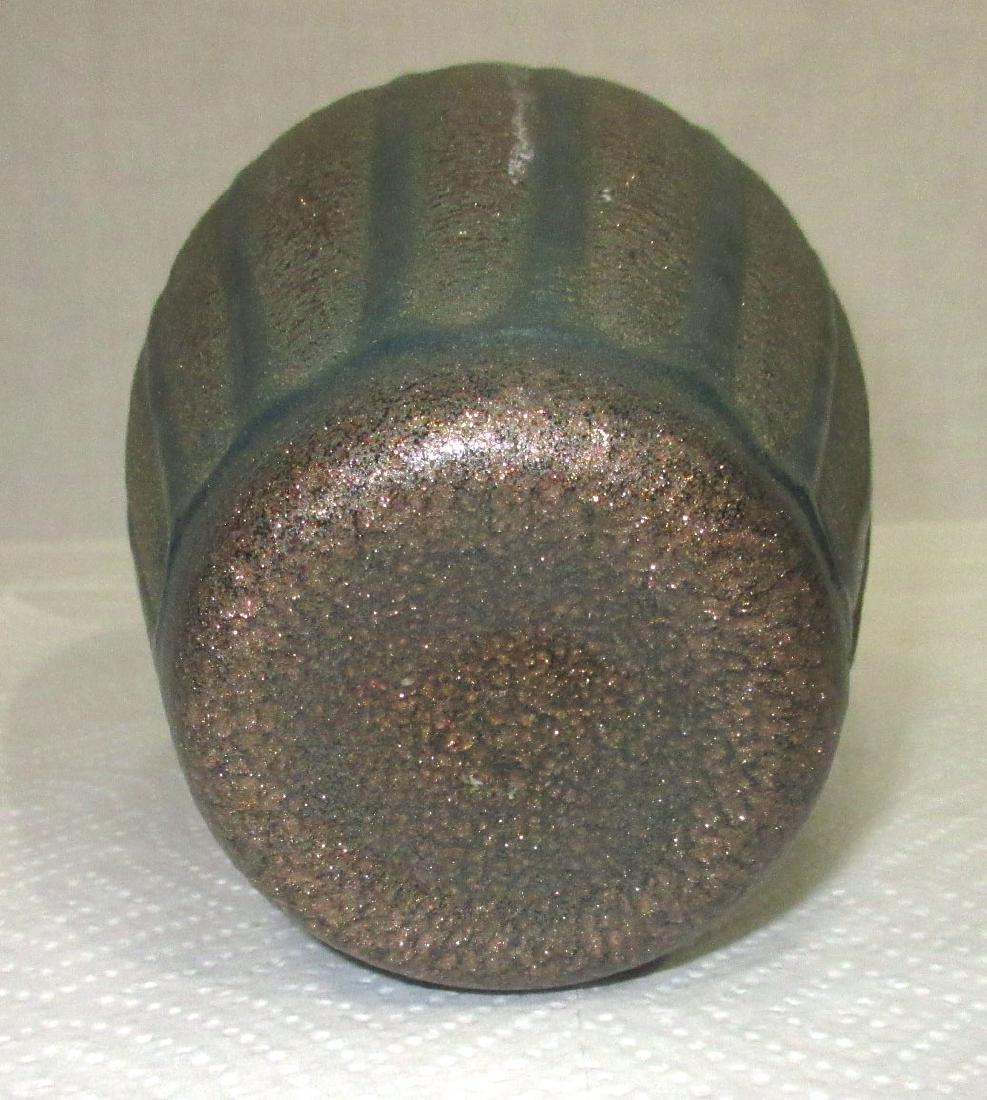 Ribbed Art Glass Vase - 4