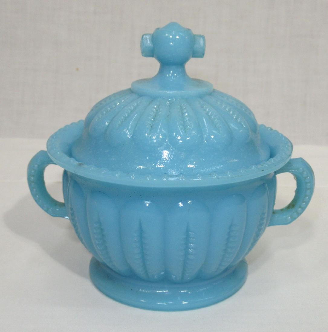 Early Blue Milk Glass Covered Dish