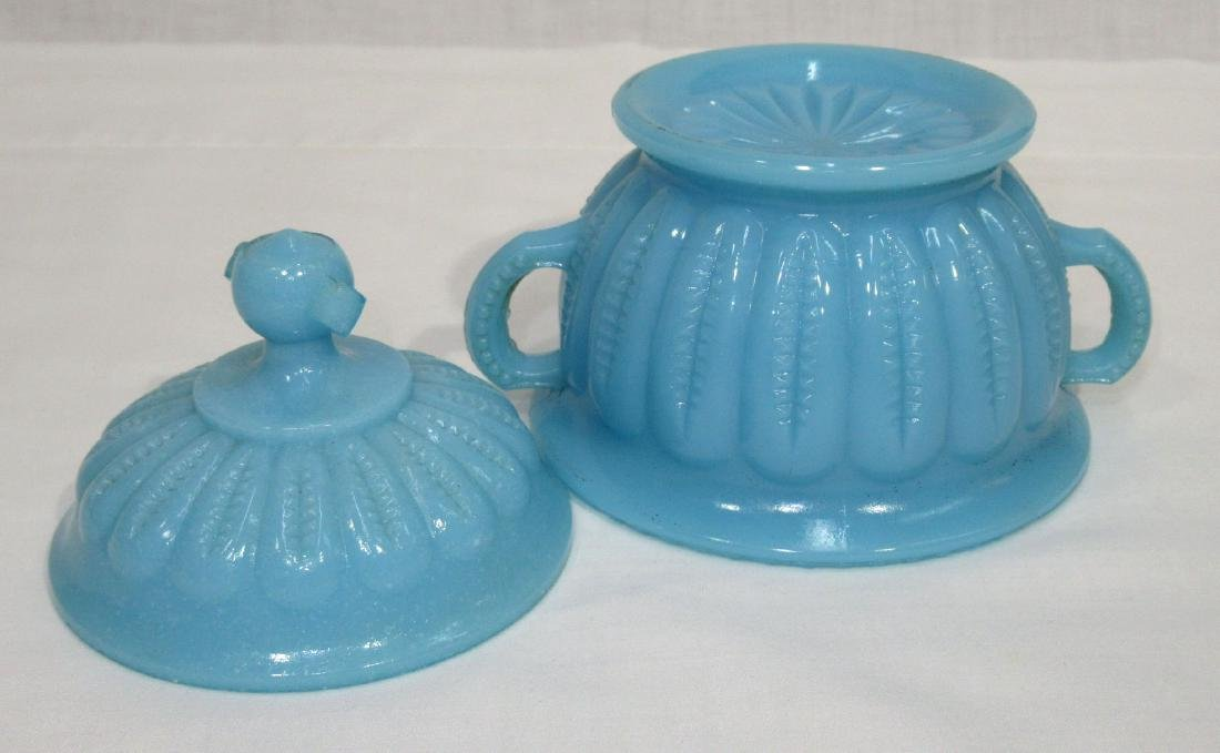 Early Blue Milk Glass Covered Dish - 2