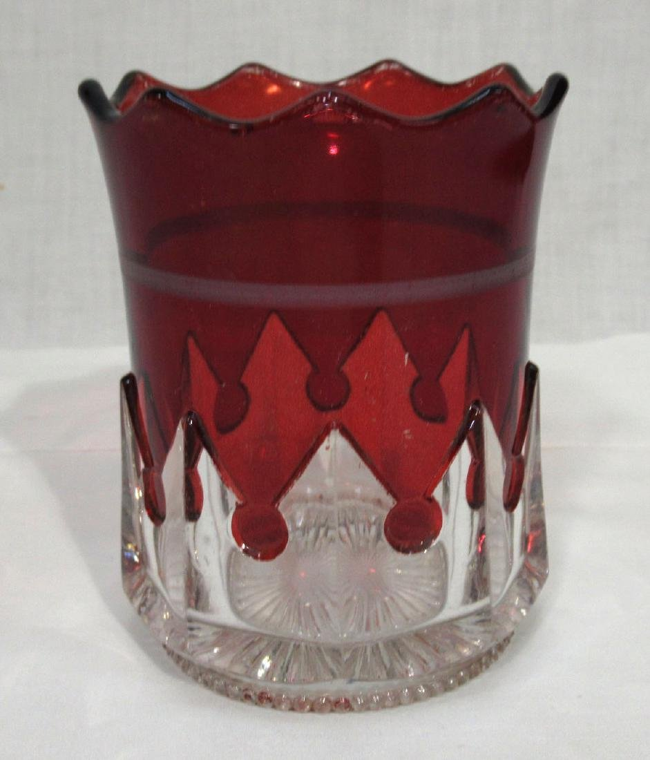 Ruby to Clear Glass Spooner