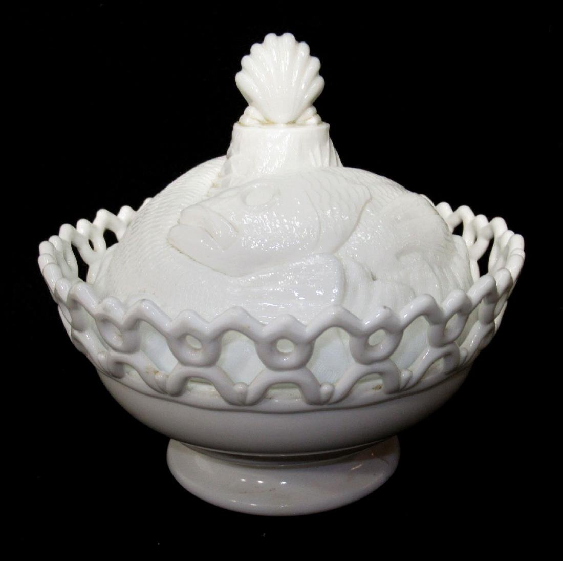 Early Milk Glass 3 Fishes Dish