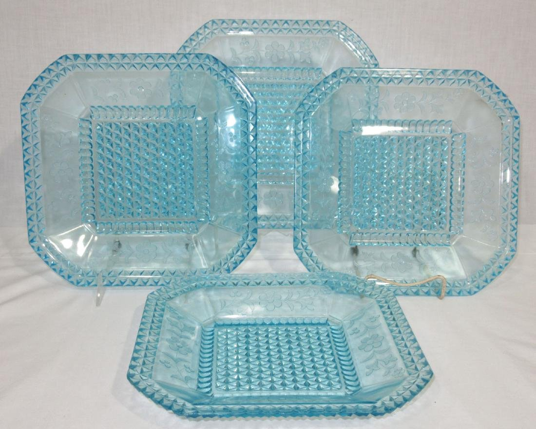 4 Blue EAPG Square Plates
