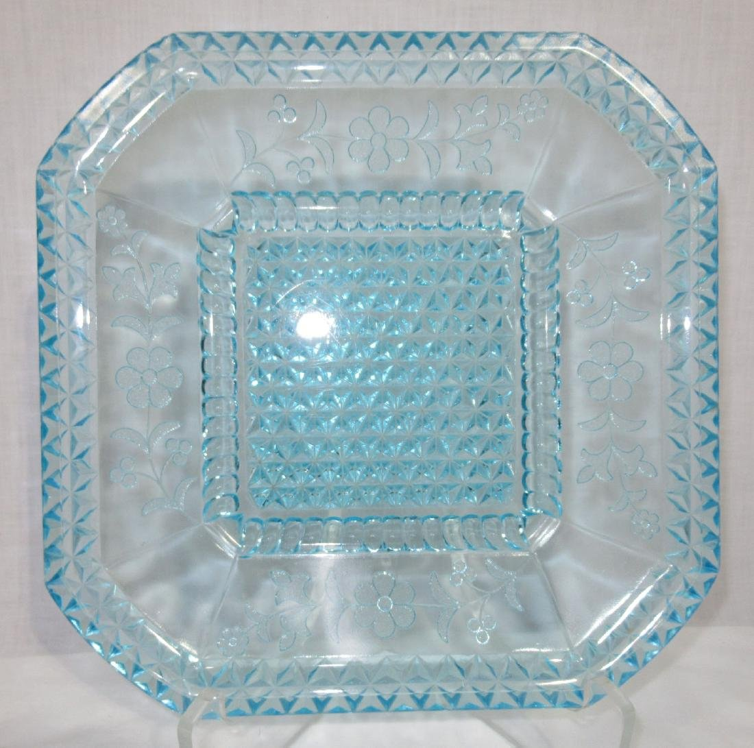 4 Blue EAPG Square Plates - 2