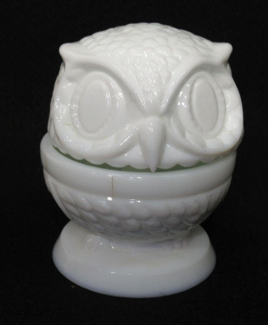 Milk Glass Bobble Head Owl Ring Dish