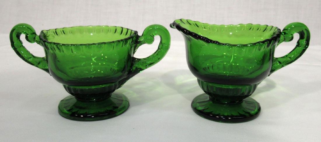 Vict. Green Glass Cream & Sugar