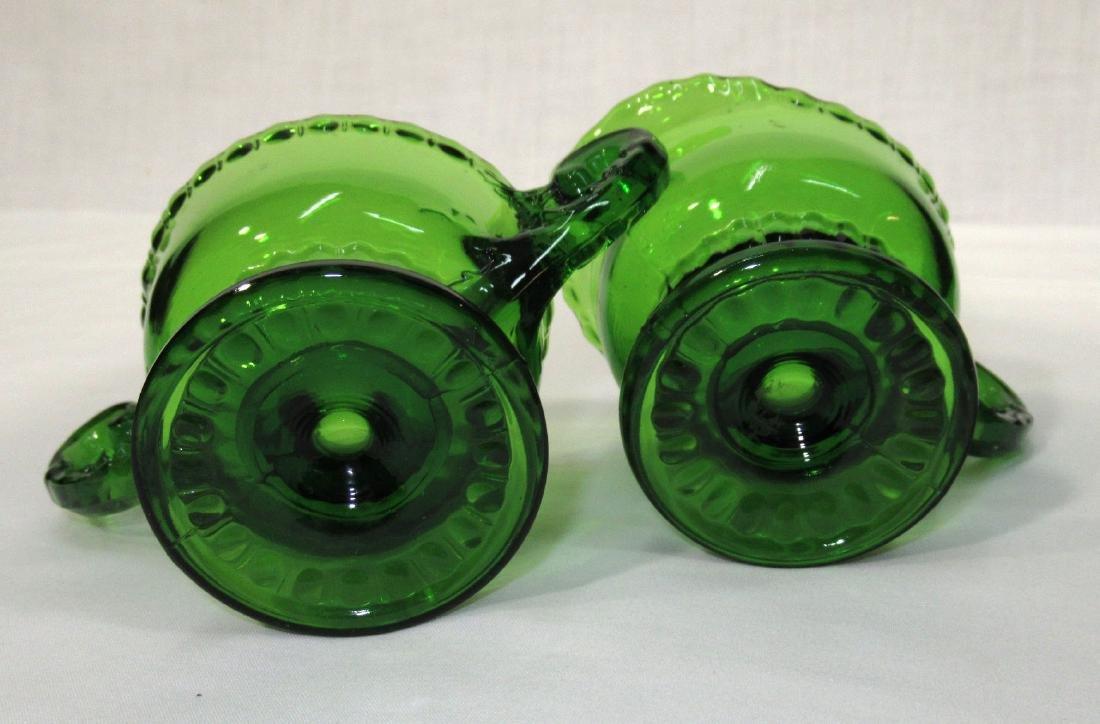 Vict. Green Glass Cream & Sugar - 2
