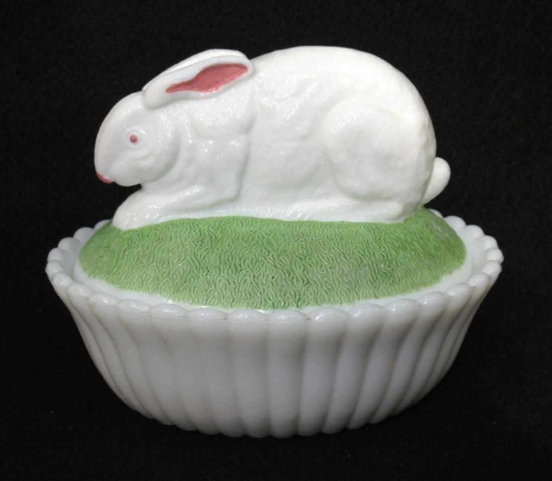 Vict. Milk Glass Rabbit on Nest