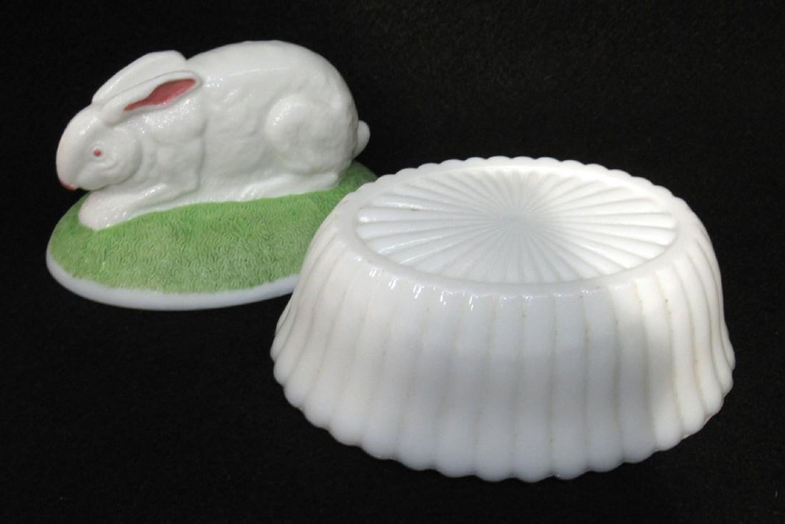 Vict. Milk Glass Rabbit on Nest - 2