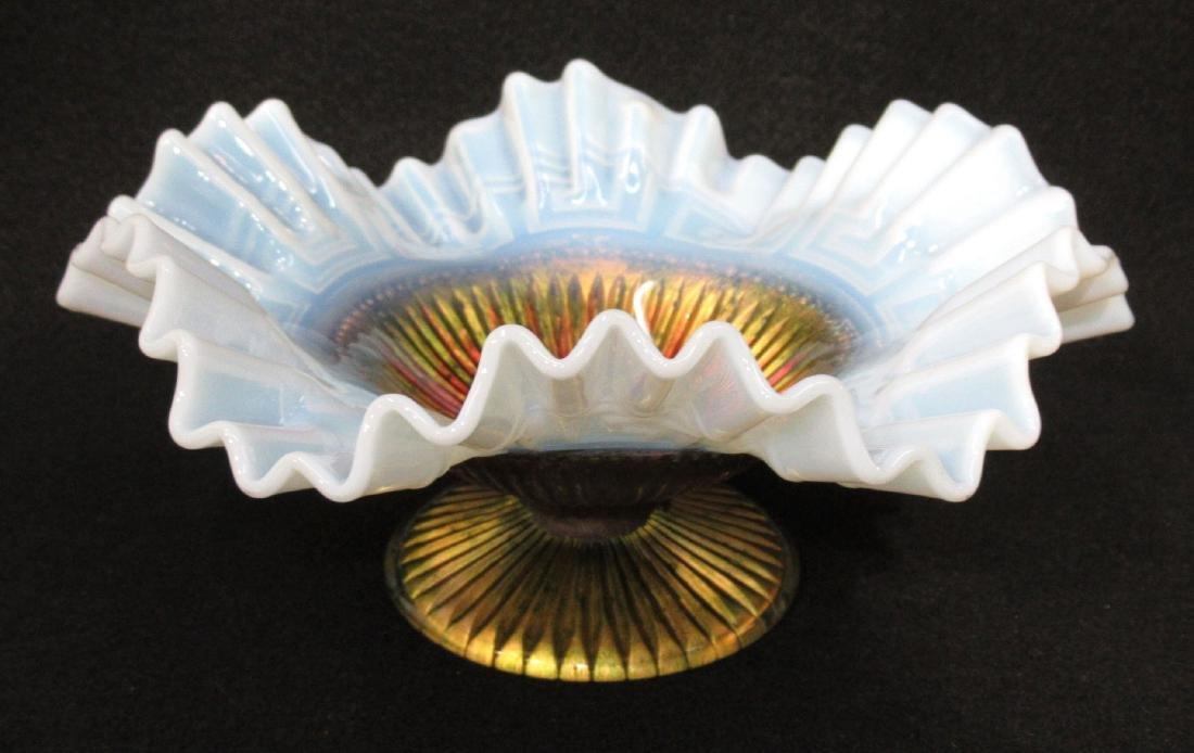 Opalescent Goofus Glass Dish