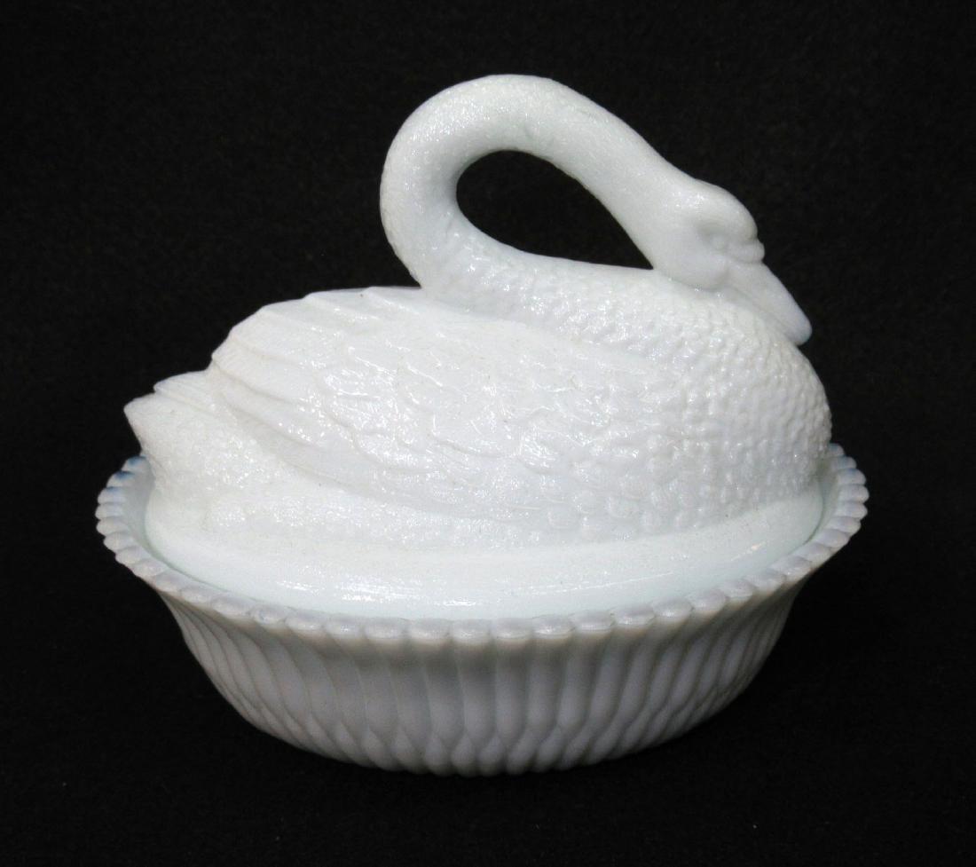 Milk Glass Swan on Nest