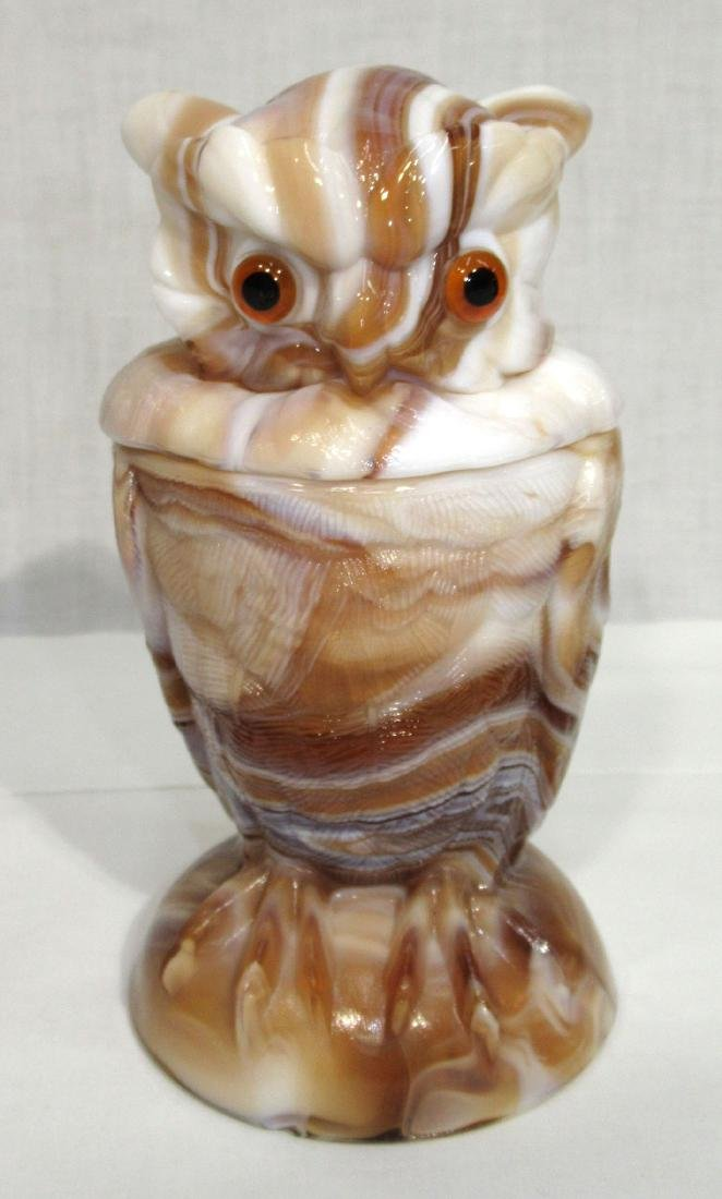 Caramel Slag Owl Jar