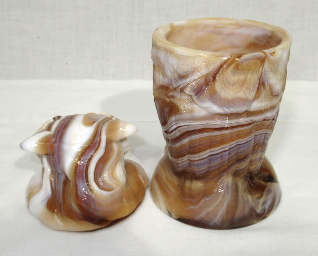 Caramel Slag Owl Jar - 2