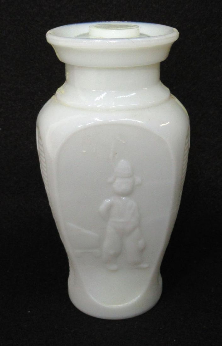 Early Milk Glass Dutch Boy Jar & Lid