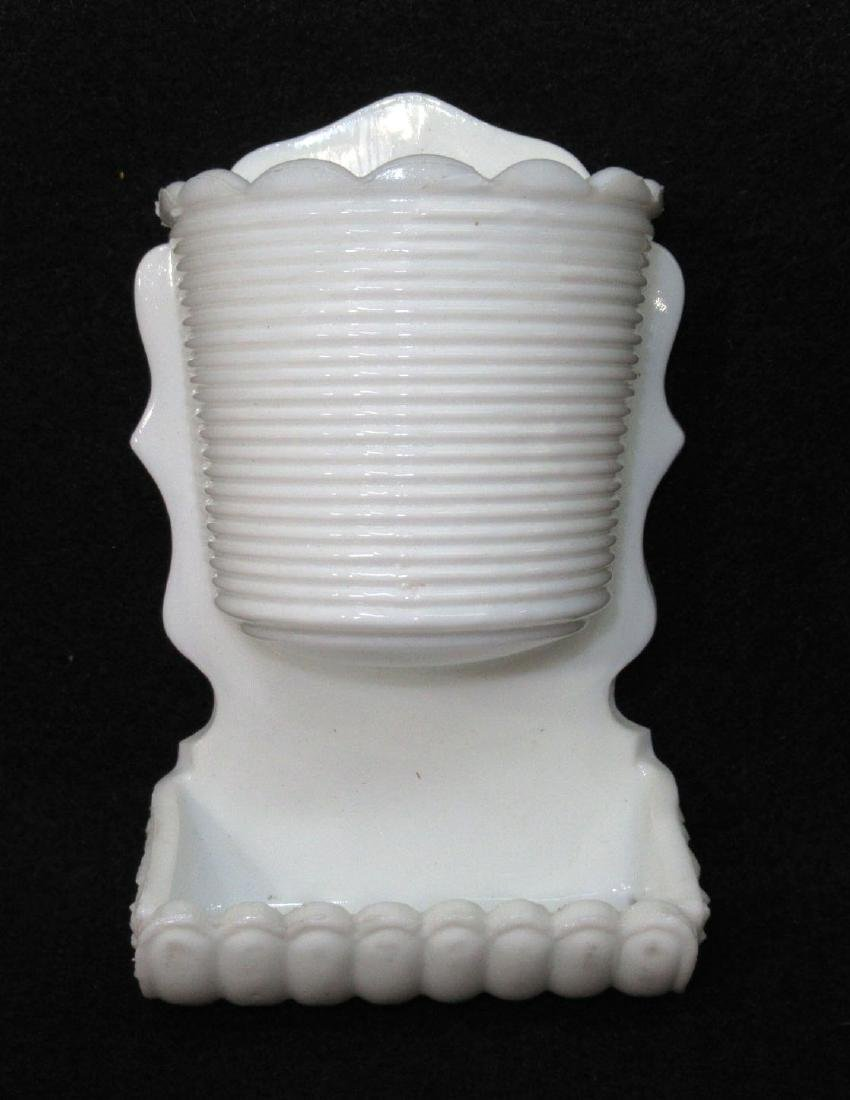 Milk Glass Dbl Match Holder