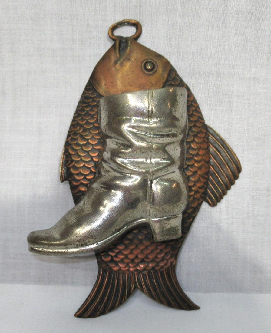 Copper & Tin Fish & Boot Match Holder