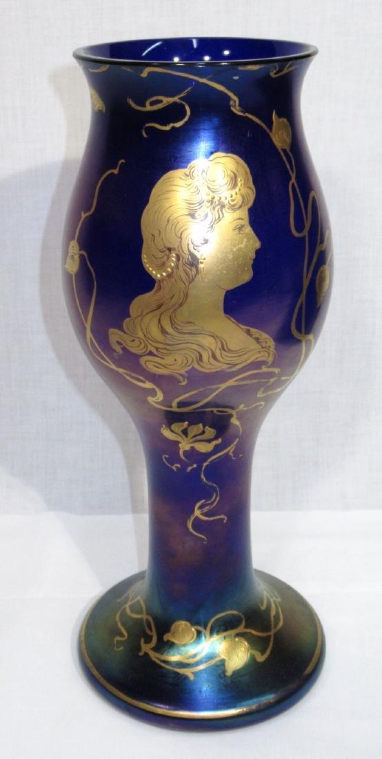 Art Glass Portrait Vase Sgnd Loetz Austria