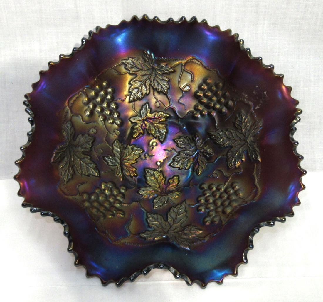 Northwood Grape & Cable Carnival Glass Bowl