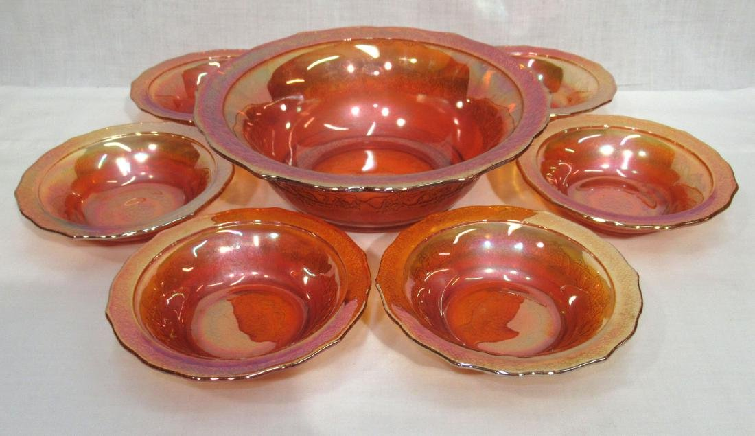 7pc Carnival Glass Berry Set