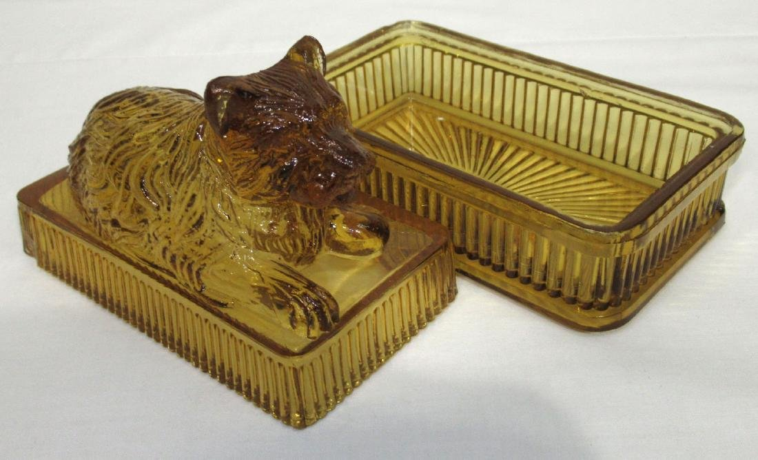 Early Amber Dog Covered Dish - 2