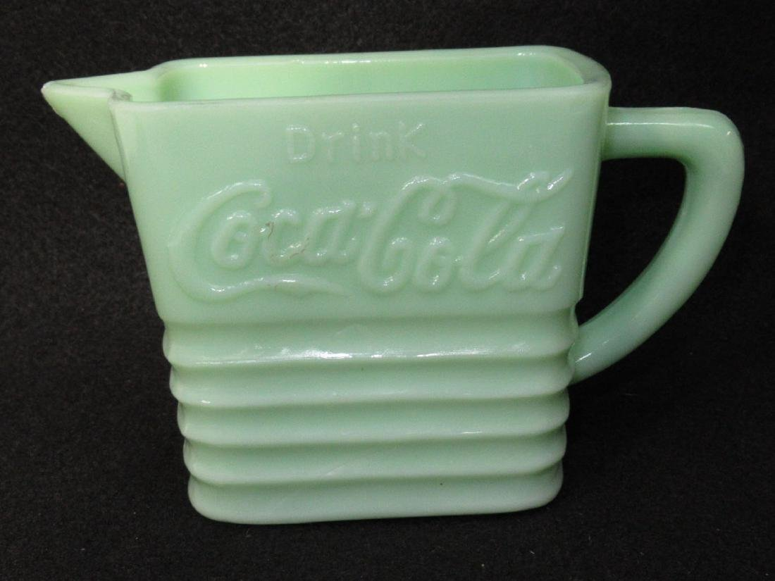 "Jadeite Pitcher ""Drink Coca Cola"""