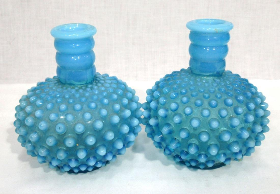 Pr. Blue Opalescent Glass Lamp Bases