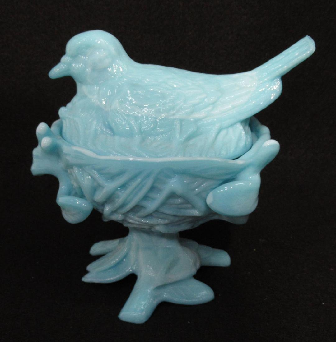 Blue Opaline Bird on Nest Dish