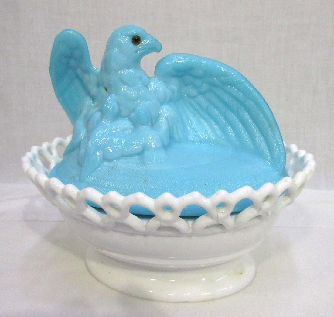 Bi Color Eagle on Nest Covered Dish