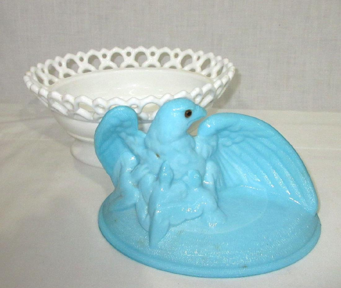 Bi Color Eagle on Nest Covered Dish - 3