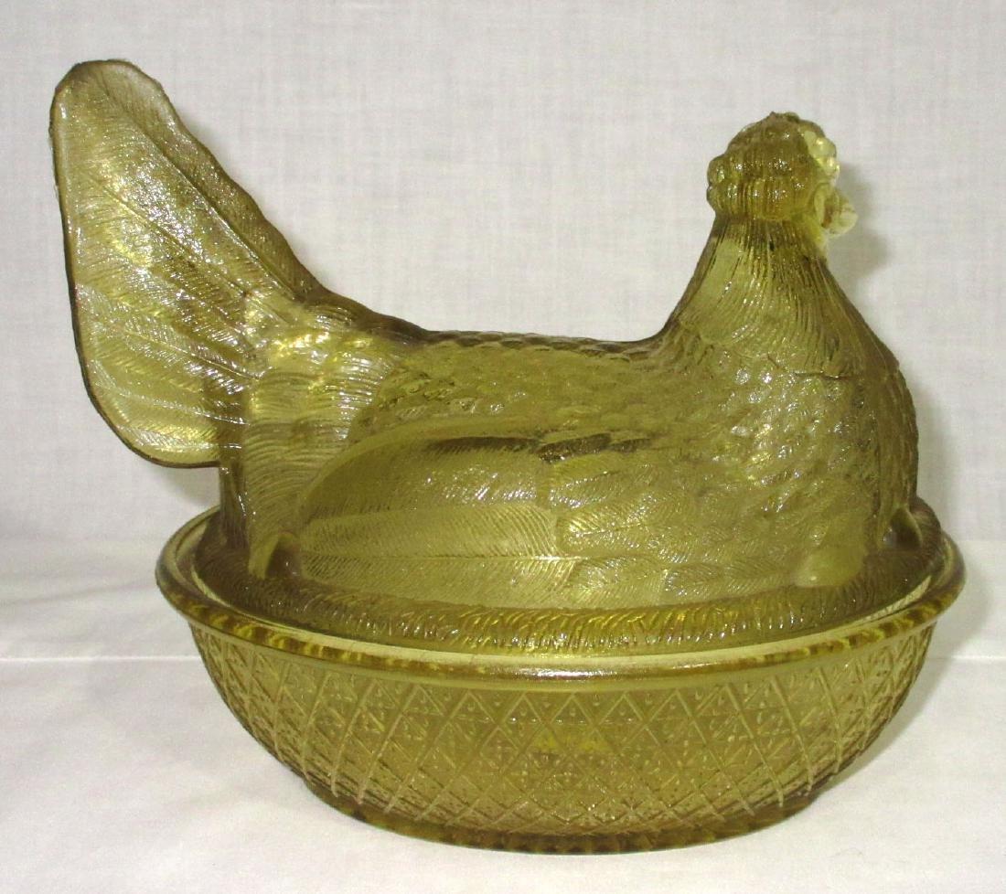Amber Glass Hen on Nest - 2