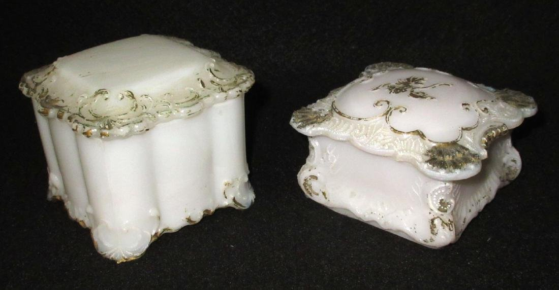 2 Victorian Milk Glass Covered Boxes