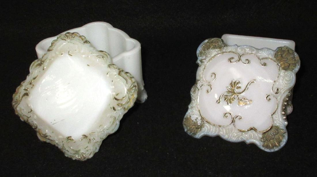2 Victorian Milk Glass Covered Boxes - 2