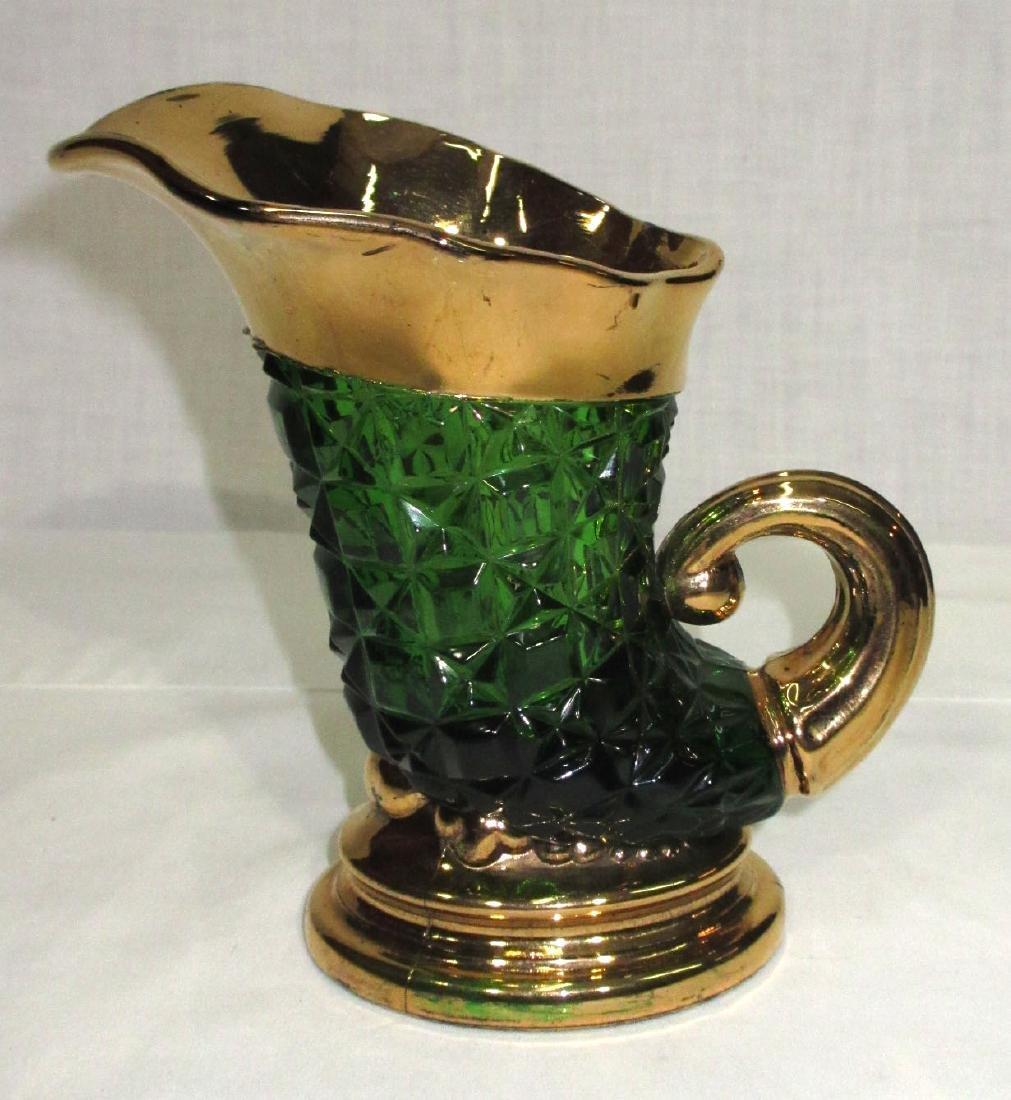 Green & Gold Glass Pitcher