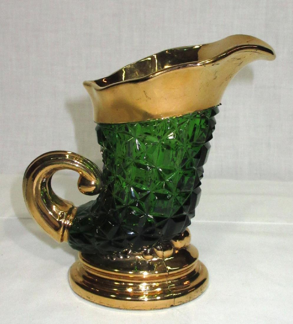Green & Gold Glass Pitcher - 2