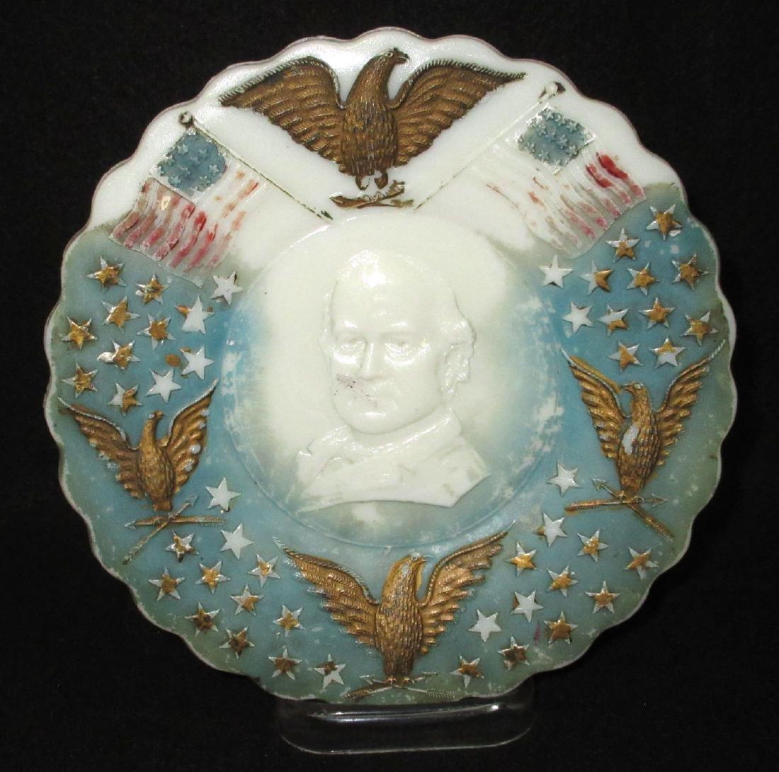 Victorian Milk Glass Wm. Jennings Bryant Plate