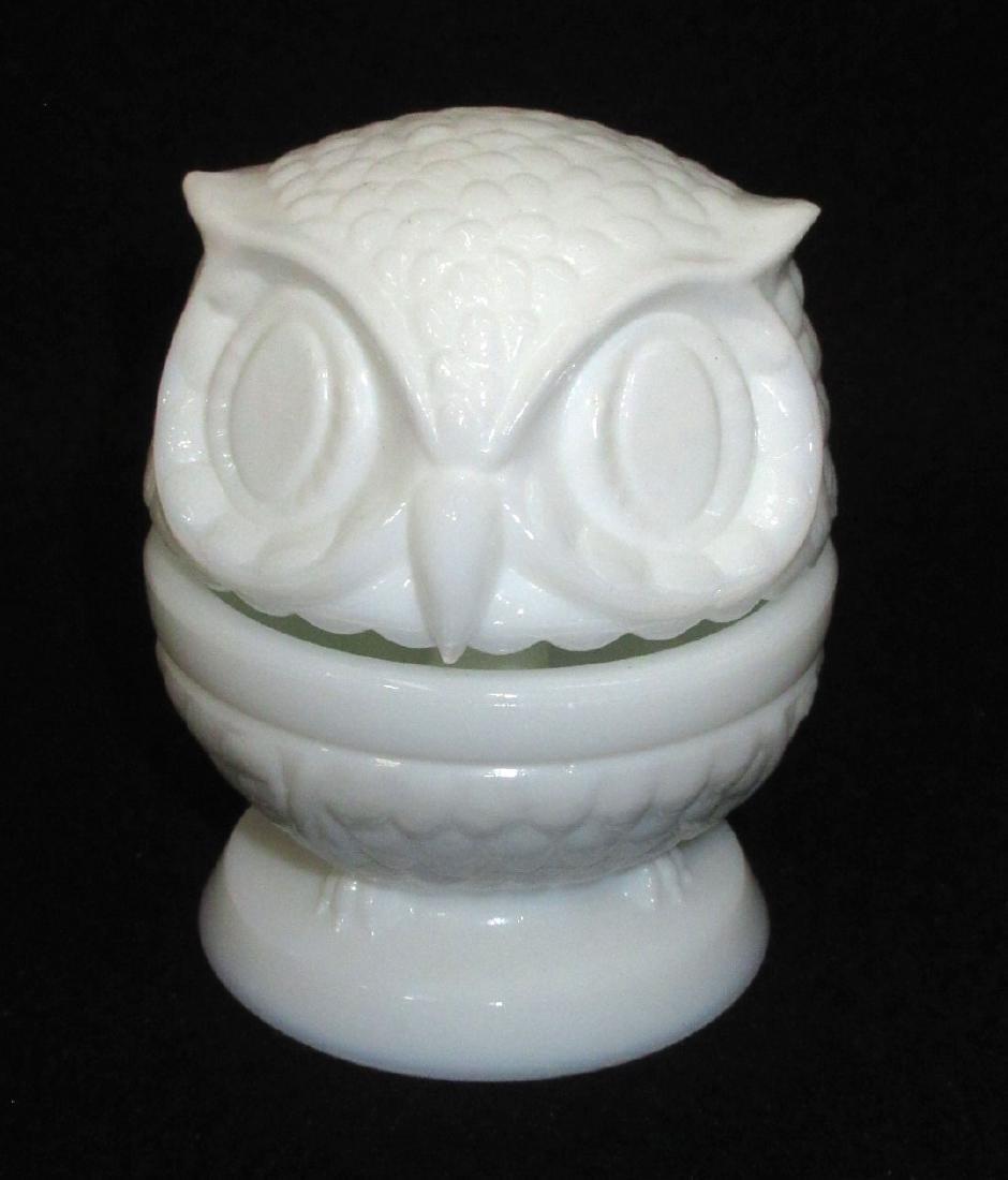 Milk Glass Bobble Head Owl Ring Box