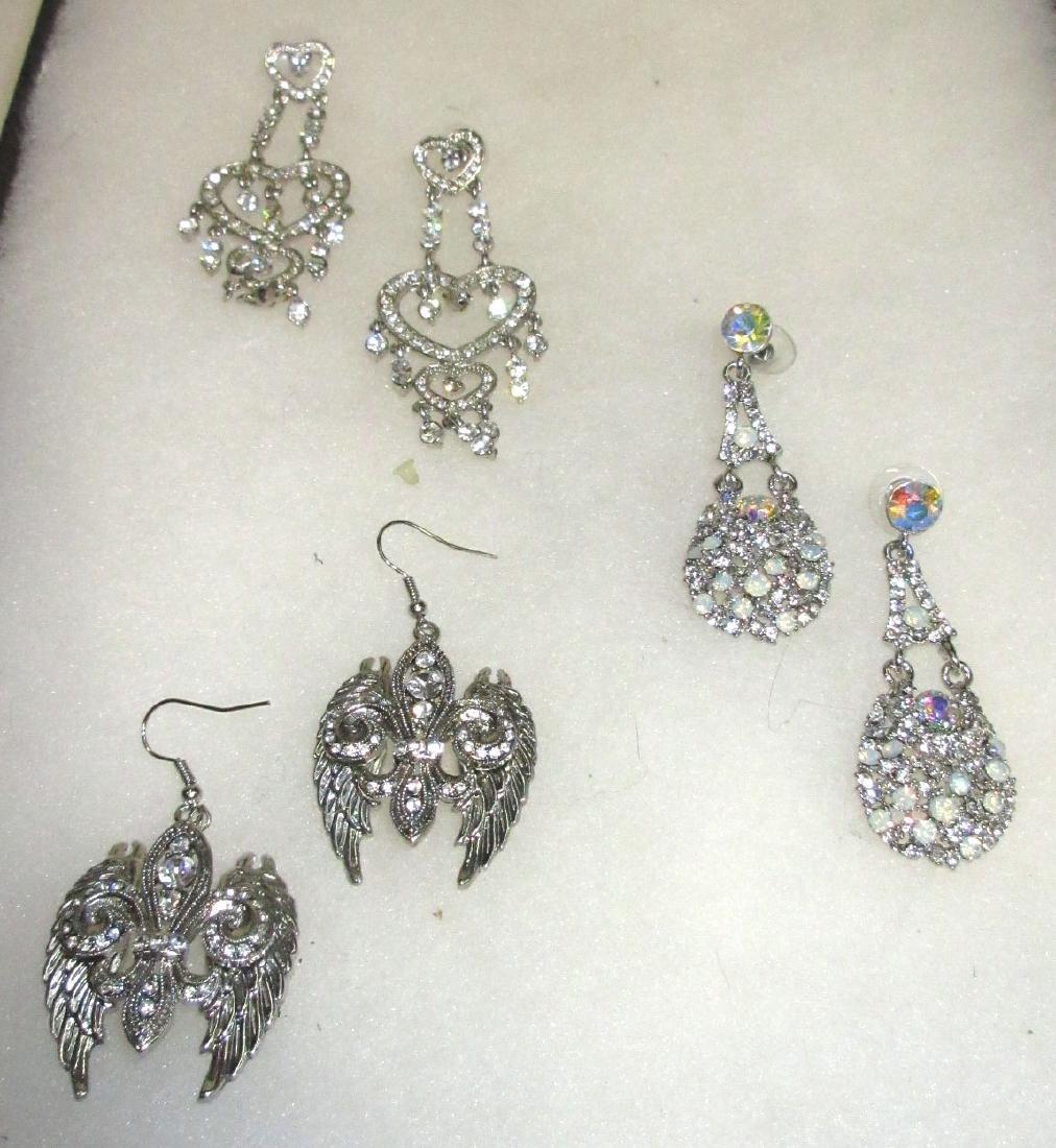 3pr Rhinestone Earrings