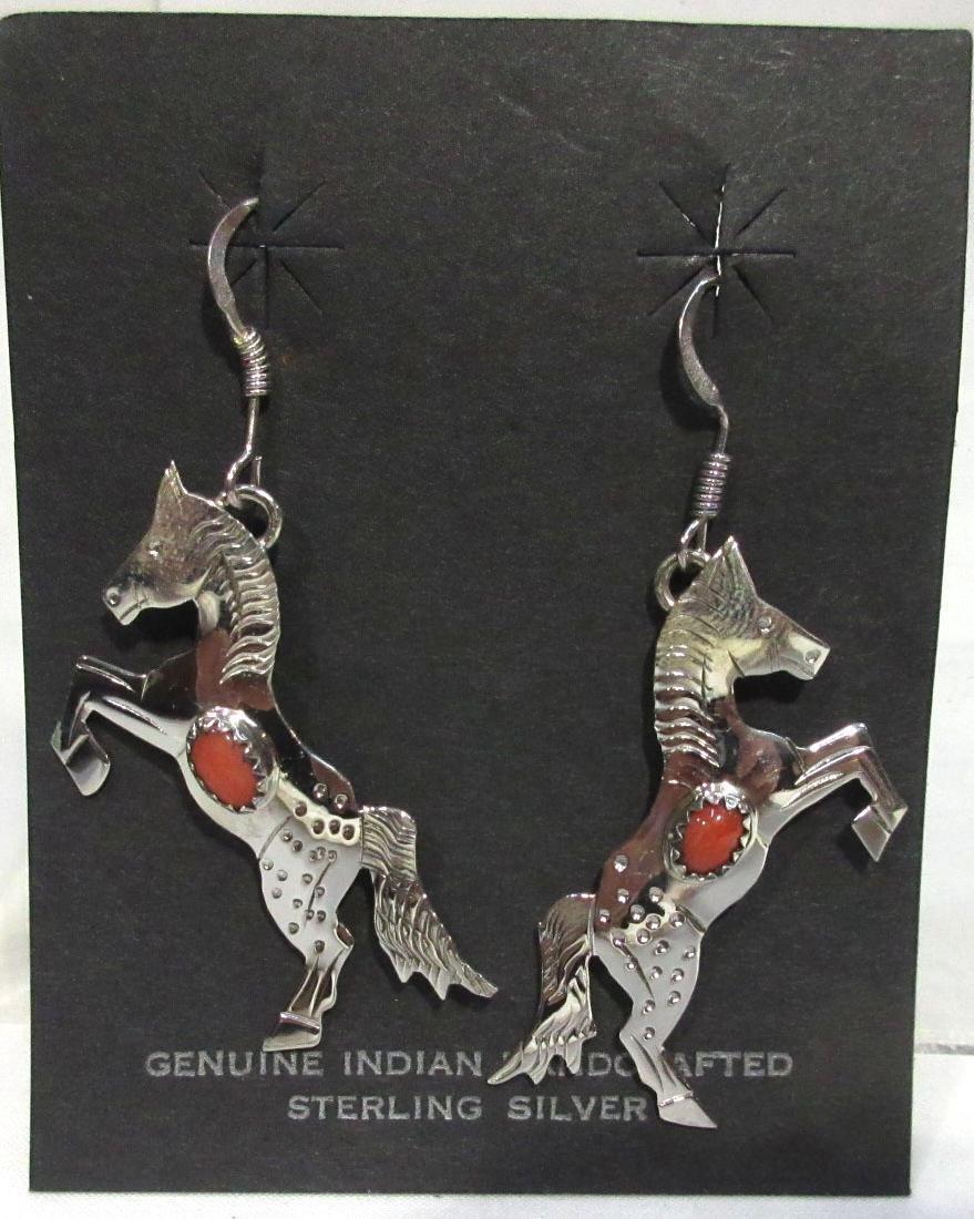 Navajo Sterling & Coral Earrings