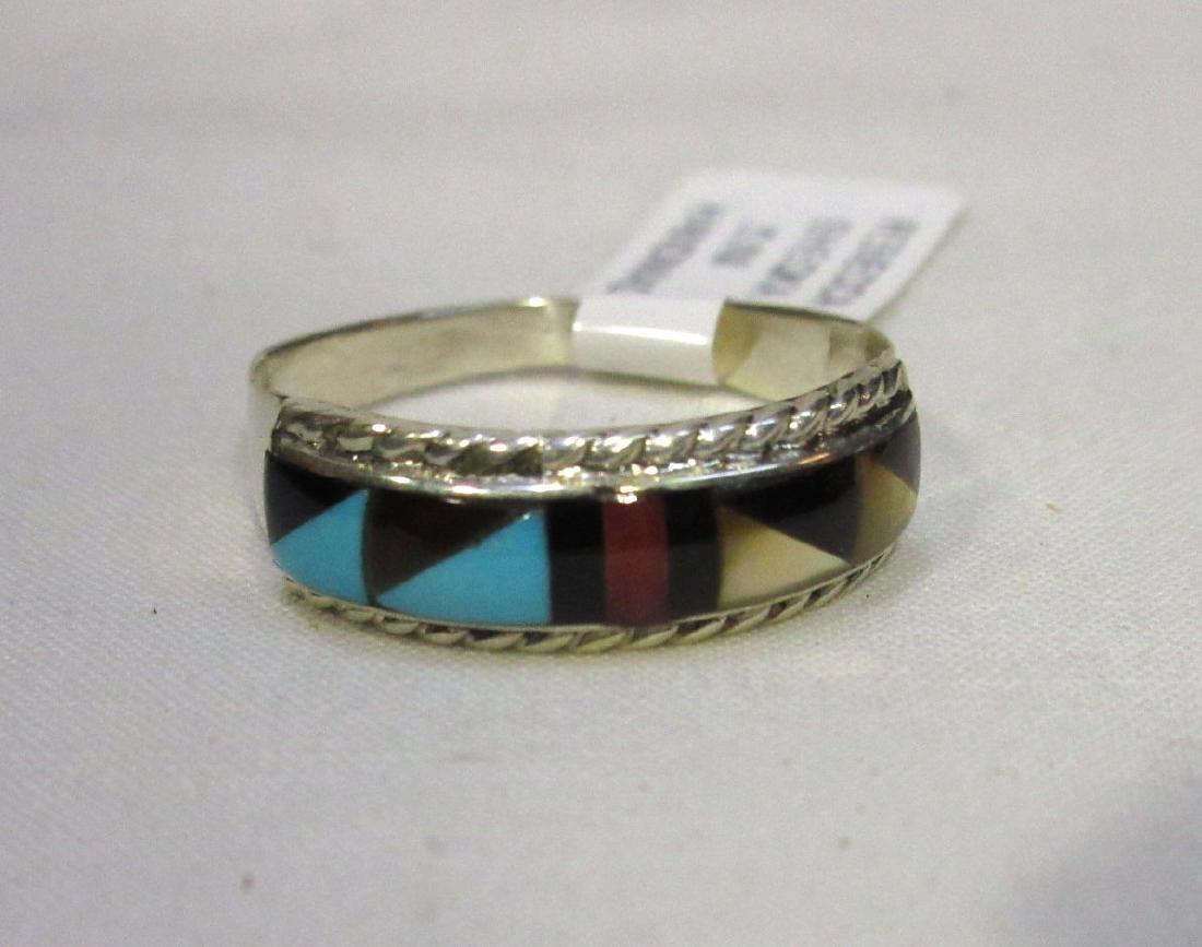 Zuni Sterling Inlaid Ring Sz 8 1/2