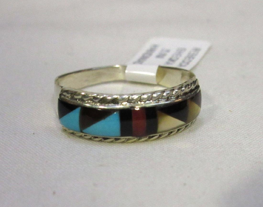 Zuni Sterling Inlaid Ring Sz 8 1/2