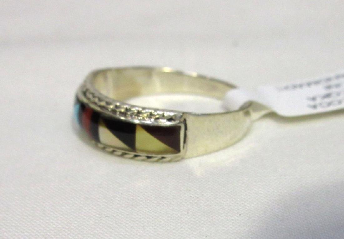 Zuni Sterling Inlaid Ring Sz 8 1/2 - 2
