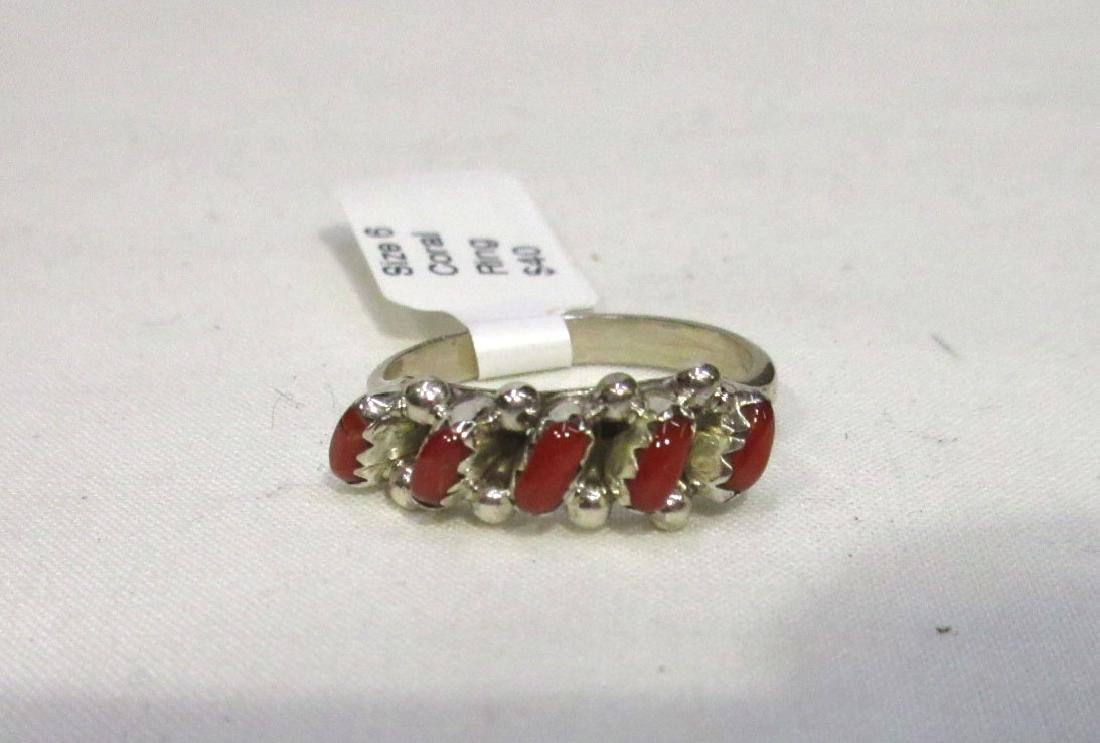 Zuni Sterling & Coral Ring Sz 6