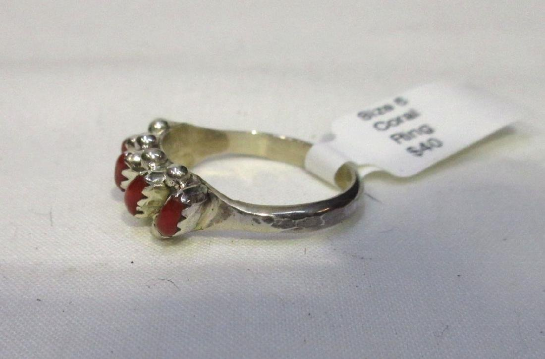 Zuni Sterling & Coral Ring Sz 6 - 2