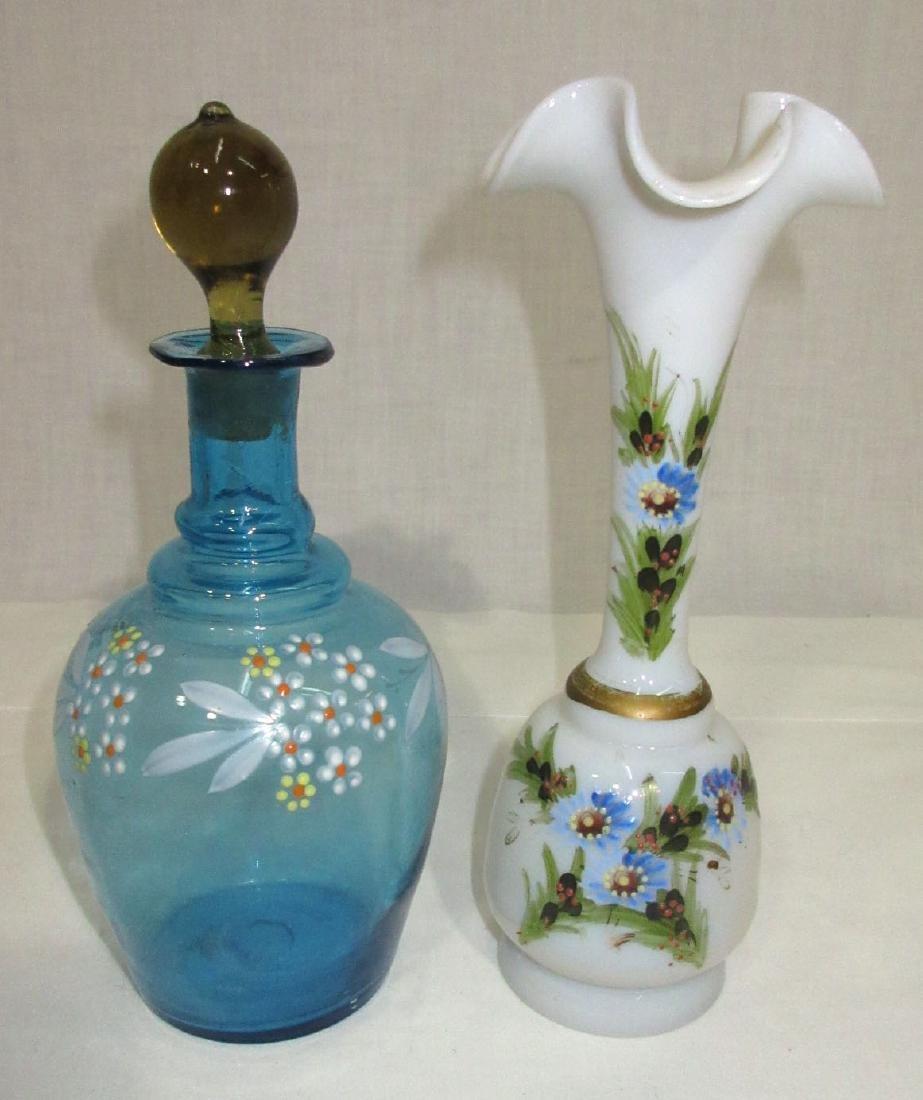 Vict. Enameled Cologne & Vase