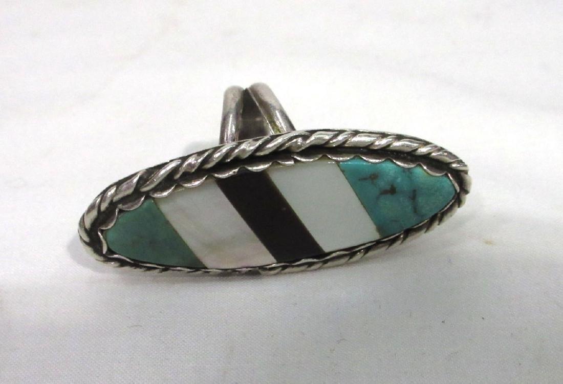 Navajo Sterling & Inlaid Ring - 3